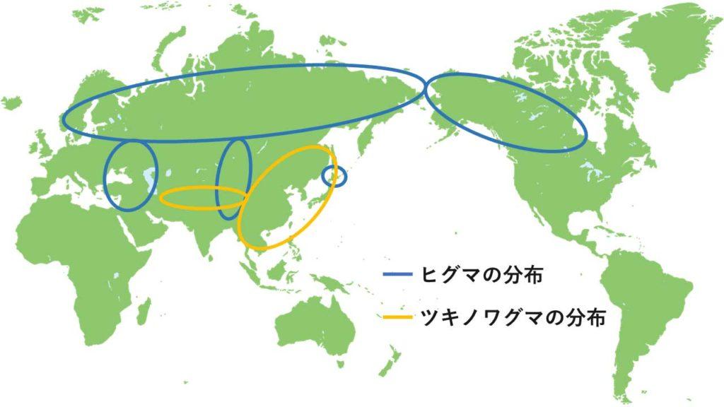 ヒグマとツキノワグマの分布