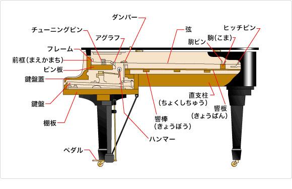 グランドピアノの構造図