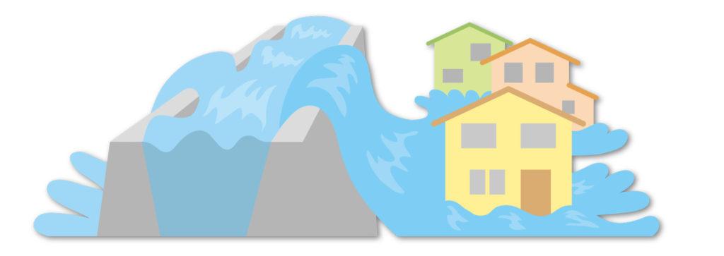 氾濫した川のイラスト
