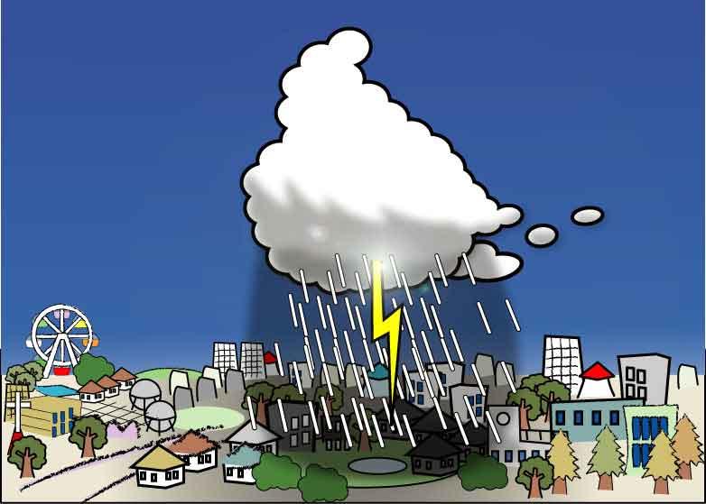 集中豪雨のイメージイラスト