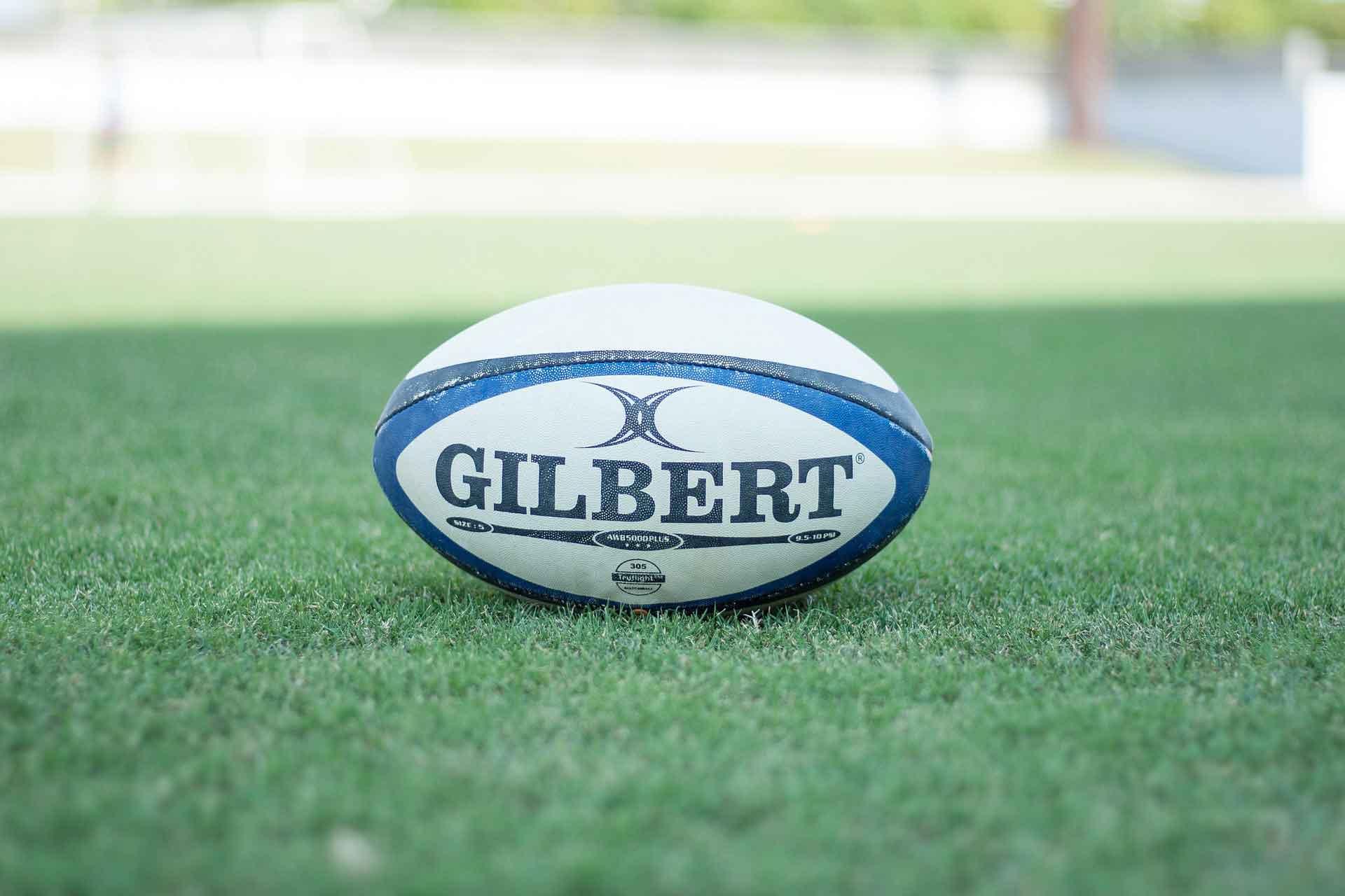 芝の上のラグビーボール